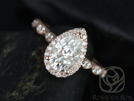 Rosados Box Sydney 9x6mm 14kt Rose Gold Pear F1- Moissanite, Diamonds Halo Leaves WITHOUT Milgrain Engagement Ring