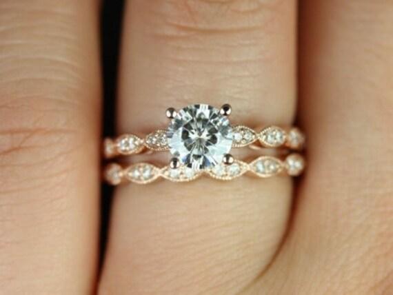 Rosados Box Helena 6mm 14kt Rose Gold Round Forever One Moissanite Diamonds Wedding Set Rings