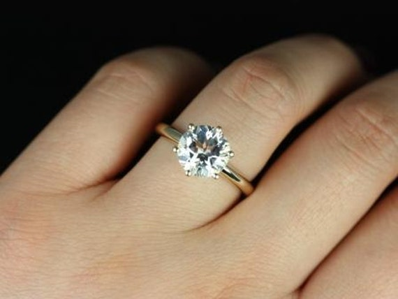 Rosados Box Webster 9mm 14kt Yellow Gold Round White Topaz Six-Prong Webbed Engagement Ring
