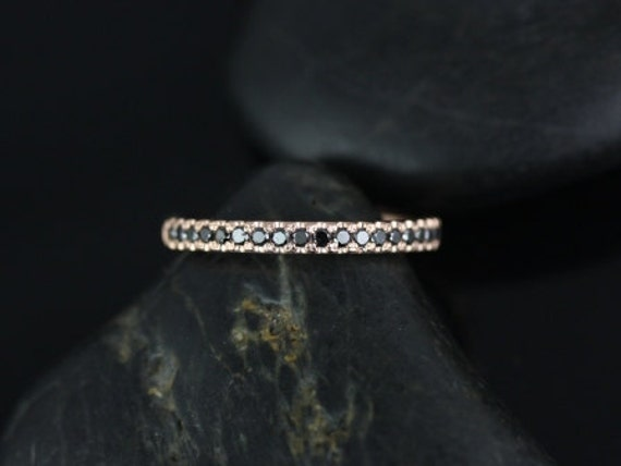 Rosados Box Kierra 14kt Rose Gold Black Diamonds French Pave HALFWAY Eternity Band