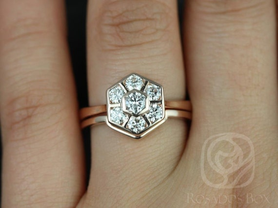 Art Deco Hexagon WITHOUT Milgrain Diamonds Cluster Wedding Set Rings Rings,14kt Solid Rose Gold,Mosaic Grande,Rosados Box