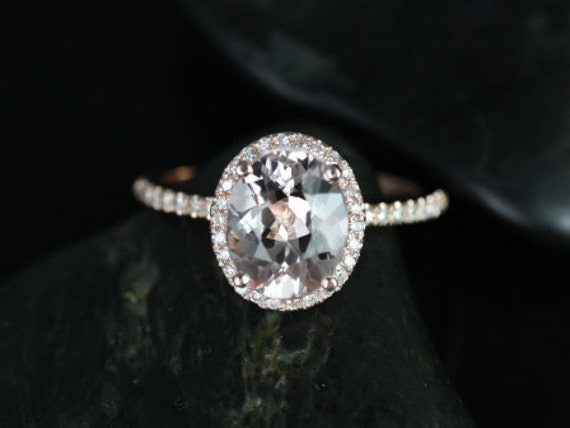 10x8mm Oval Morganite Diamonds Dainty Micro Pave Halo Engagement Ring,14kt Rose Gold,Federella 10x8mm,Rosados Box