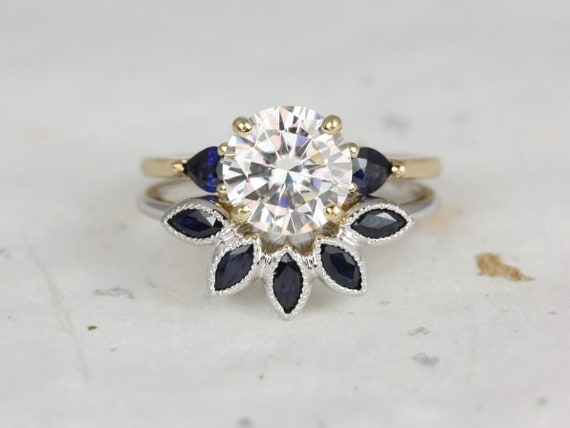 2cts Elise 8mm & Petunia 14kt Solid White Gold Forever One Moissanite Sapphire Pear Cluster Round 3 Stone Wedding Set Rings,Rosados Box