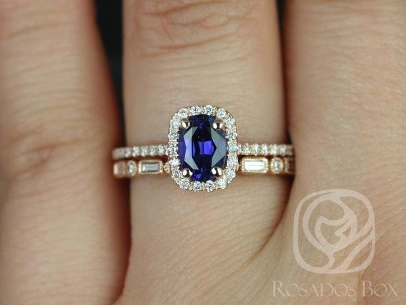 Rosados Box Romani 7x5mm & Ivanna 14kt Rose Gold Oval Blue Sapphire and Diamonds Cushion Halo Wedding Set