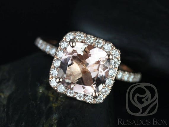 Ready to Ship Pernella 8mm 14kt Rose Gold Morganite Diamonds Micropave Cushion Halo Non-Cathedral Engagement Ring,Rosados Box