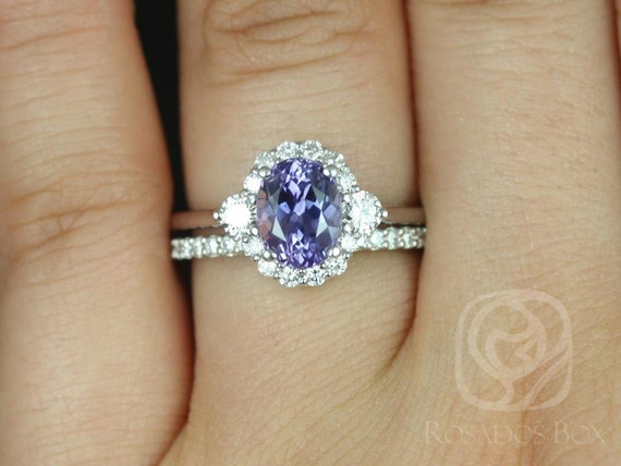 1.98cts Ready to Ship Britney 14kt White Gold Chrome Purple Sapphire Diamonds 3 Stone Unique Oval Halo Wedding Set Rings,Rosados Box