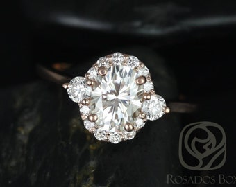 Rosados Box Britney 8x6mm 14kt Rose Gold Oval F1- Moissanite and Diamonds Halo Engagement Ring