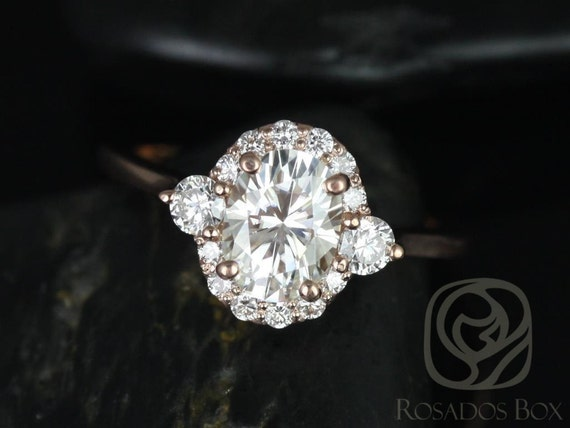 Rosados Box Ready to Ship Britney 8x6mm 14kt Rose Gold Oval F1- Moissanite and Diamonds Halo Wedding Set