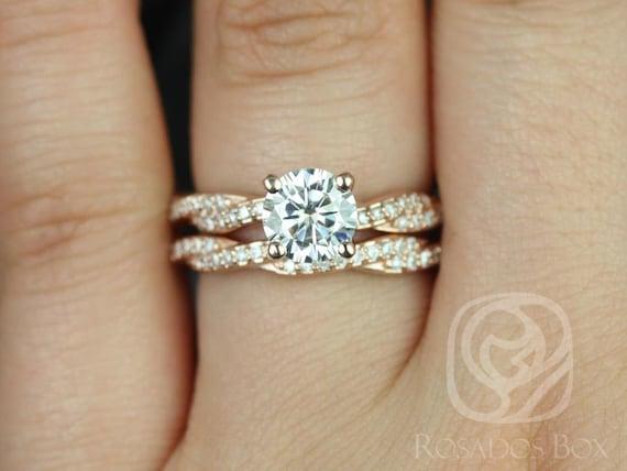 Rosados Box Twyla 6.5mm 14kt Rose Gold Round Forever One Moissanite & Diamond Twist Wedding Set Rings