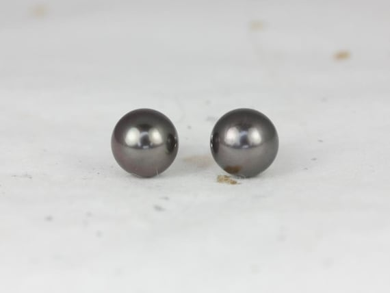Rosados Box Ready to Ship Tahitian Black Pearl 8-8.5mm 14kt White Gold Classic Stud Earrings (Basics Collection)