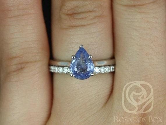 1.30ct Skinny Jane & Tiffani 14k White Gold Cornflower Blue Sapphire Diamond Dainty Solitaire Wedding Set Rings,Ready to Ship,Rosados Box