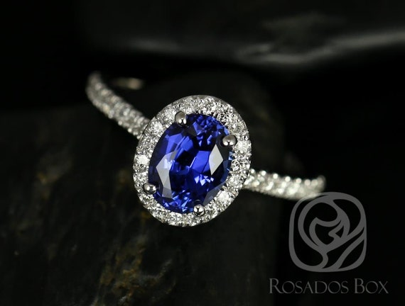 Rosados Box Elizabeth 8x6mm 14kt White Gold Oval Blue Sapphire and Diamonds Halo Engagement Ring