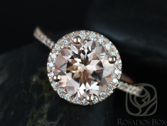 9mm Round Morganite Diamonds Dainty Pave Halo Engagement Ring,14kt Rose Gold,Kubian 9mm,Rosados Box