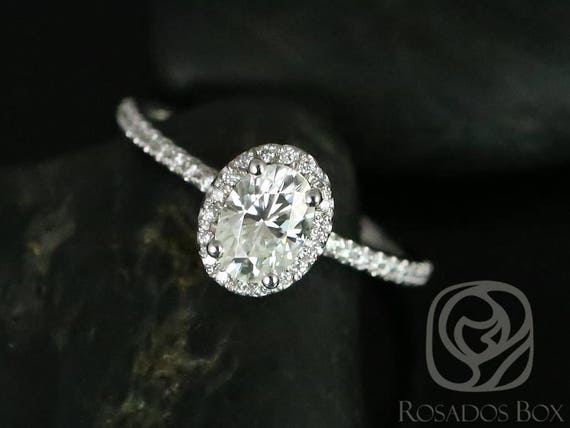 1ct Oval Forever One Moissanite Diamonds Dainty Micro Pave Halo Non-Cathedral Engagement Ring,14kt White Gold,Federella 7x5mm,Rosados Box