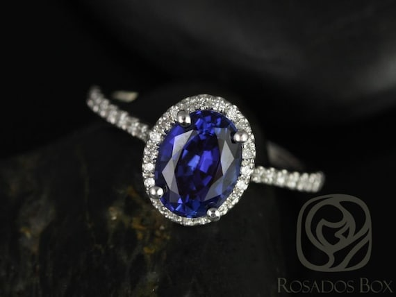 Rebecca 8x6mm 14kt Solid White Gold Blue Sapphire Diamonds Dainty Micropave Oval Halo Engagement Ring, Rosados Box