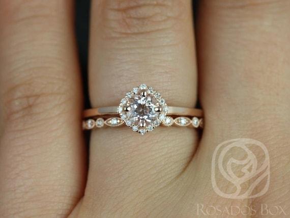 5mm Morganite Diamond Cushion Kite Halo Wedding Set Rings,14kt Solid Rose Gold,Kyla 5mm & Gwen,Rosados Box