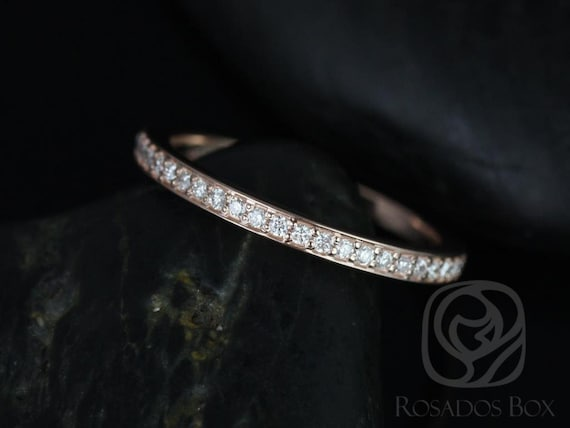 Rosados Box 14kt Rose Gold Matching Band to Hollie Diamonds HALFWAY Eternity Band