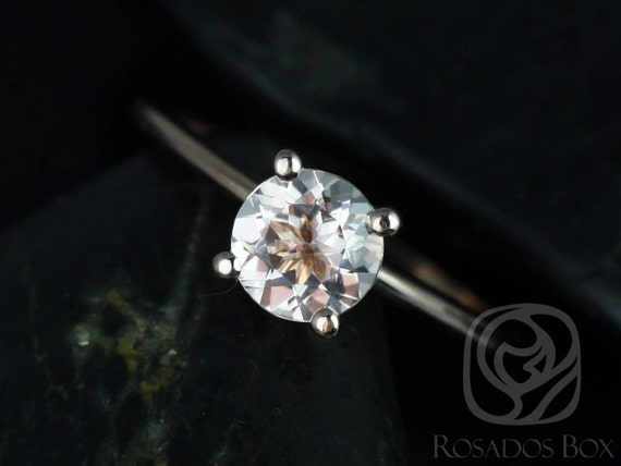 Skinny Alberta 6mm 14kt Rose Gold Round Morganite Dainty Cathedral Round Solitaire Engagement Ring,Rosados Box