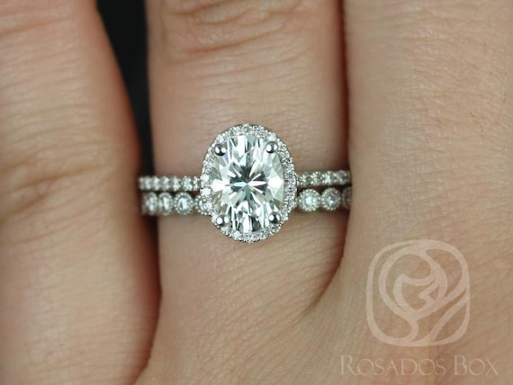 1.50cts Rebecca 8x6mm & Petite Bubbles 14kt White Gold Forever One Moissanite Diamond Dainty Pave Oval Halo Wedding Set Rings,Rosados Box