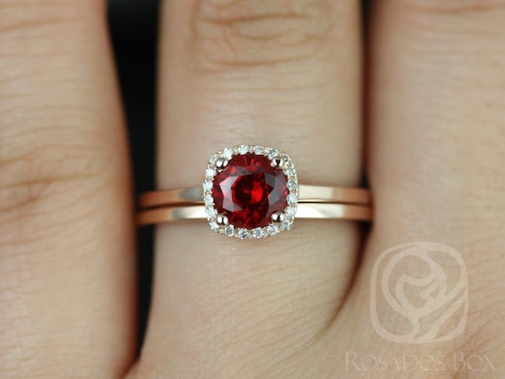 Ruby Diamond Cushion Halo Plain Band Wedding Set Rings Rings , 14kt Solid Rose Gold , Ready to Ship , Bella 6mm & Plain Band , Rosados Box