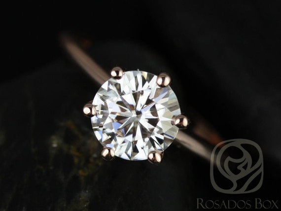 1.50ct Round Forever One Moissanite Thin 6 Prong Engagement Ring,14kt Solid Rose Gold,Skinny Webster 7.50mm,Rosados Box