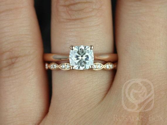 Rosados Box Florence 6.5mm & Christie 14kt Rose Gold Cushion Forever One Moissanite Diamond Wedding Set Rings