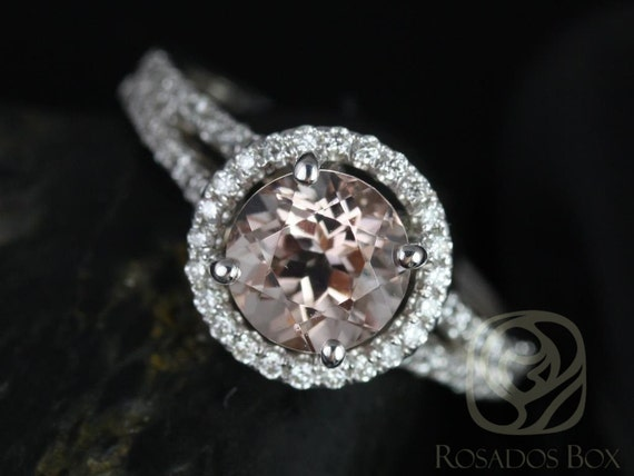 Rosados Box Morgan 7mm 14kt White Gold Thin Morganite and Diamond Round Halo with a Split Band Engagement Ring