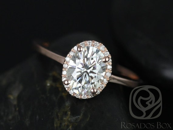 Rosados Box Celeste 8x6mm 14kt Rose Gold Oval Forever One Moissanite Diamonds Pave Halo Engagement Ring