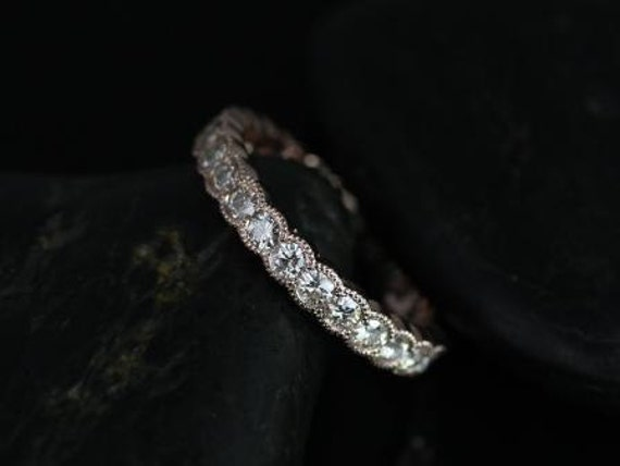 Rosados Box DIAMOND FREE Cordelia 14kt Rose Gold Curvy Moissanite Single Row Milgrain FULL Eternity Band