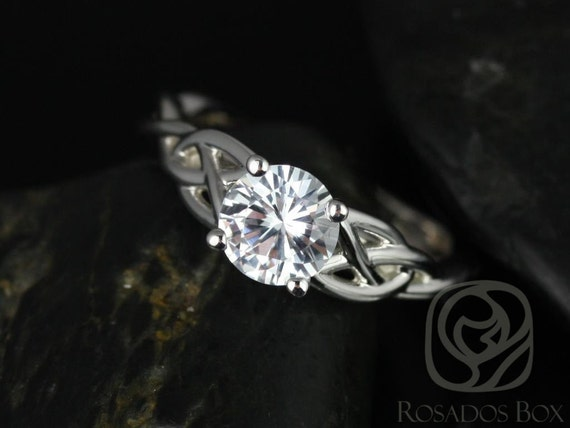 6mm Round White Sapphire Celtic Love Knot Triquetra Engagement Ring,  14kt Solid White Gold Cassidy 6mm,Rosados Box