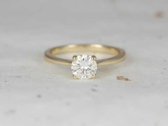 Rosados Box Ready to Ship Skinny Flora 6.5mm 14kt Yellow Gold Round Forever One Moissanite Thin Cathedral Solitaire Engagement Ring