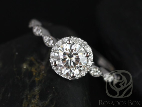 Rosados Box Samantha 6mm 14kt White Gold Round F1- Moissanite & Diamond  WITHOUT Milgrain Halo Engagement Ring
