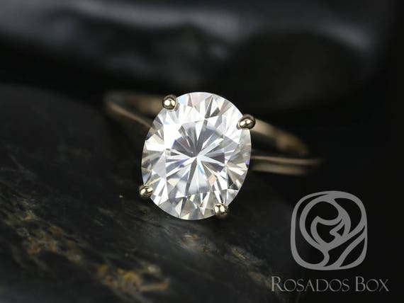 SALE Rosados Box Ready to Ship Bailey 11x9mm 14kt Yellow Gold Oval FB Moissanite Thin Skinny Engagement Ring