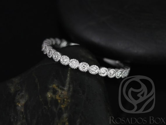 Petite Bubbles 14kt White Gold Diamond Bezel WITH Milgrain ALMOST Eternity Band Dainty Ring,Rosados Box