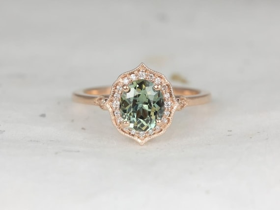 Rosados Box Ready to Ship Mae 1.44cts 14kt Rose Gold Oval Jungle Teal Sapphire and Diamond Halo WITH Milgrain Engagement Ring