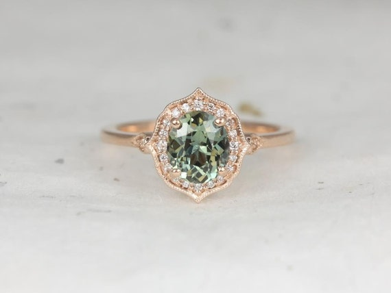 1.44ct Ready to Ship Mae 14kt Rose Gold Oval Jungle Teal Sapphire Diamond Unique Oval Halo WITH Milgrain Engagement Ring,Rosados Box