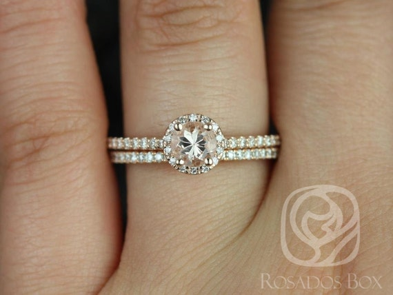 Amanda 5mm 14kt Rose Gold Round Halo Morganite Diamond Dainty Pave Round Halo Wedding Set Rings,Rosados Box