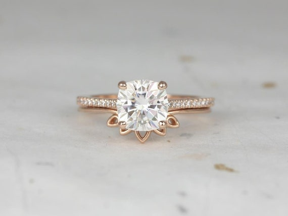 Rosados Box Marcelle 7.5mm & Lollie 14kt Rose Gold Cushion Forever One Moissanite and Diamond Cathedral Wedding Set