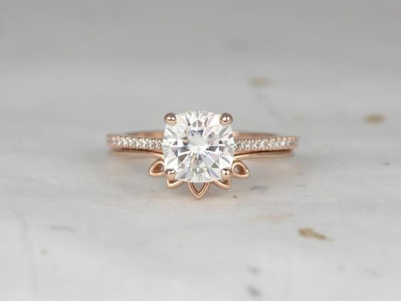 2cts Marcelle 7.5mm & Lollie 14kt Rose Gold Forever One Moissanite Diamond Dainty Cushion Solitaire Cathedral Wedding Set Rings,Rosados Box