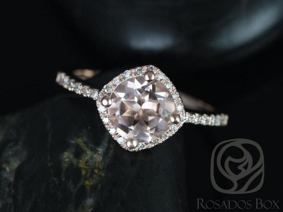 Kitana 7mm 14kt Rose Gold Morganite Diamonds Dainty Thin Kite Pave Cushion Halo Engagement Ring,Rosados Box