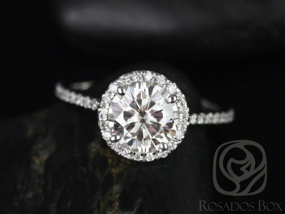 Rosados Box Kimberly 7.5mm Platinum Round F1- Moissanite and Diamonds Halo Engagement Ring