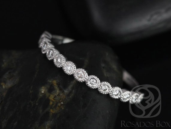 Petite Bubbles 14kt White Gold Diamond Bezel WITH Milgrain HALFWAY Eternity Band Dainty Ring,Rosados Box