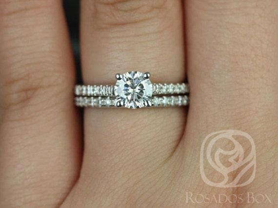 Rosados Box Eva 6mm 14kt White Gold Round Forever One Moissanite Diamonds Cathedral Wedding Set