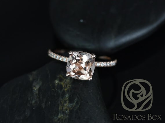 Ready to Ship Heidi 8mm 14kt Rose Gold Cushion Morganite Diamond Hidden Pave Halo Basket Engagement Ring,Rosados Box