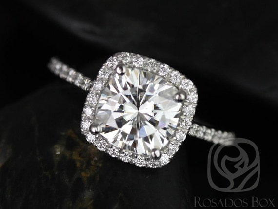 2ct Catalina 7.5mm 14kt White Gold Forever One Moissanite Diamond Dainty Micropave Cushion Halo Engagement Ring,Rosados Box
