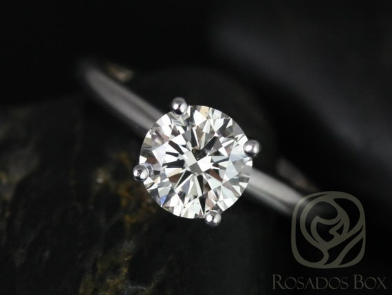 Rosados Box Alberta 7.5mm 14kt White Gold Round Forever One Moissanite Tulip Solitaire Engagement Ring