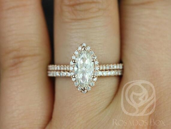 SALE Rosados Box Ready to Ship Sasha 10x5mm 14kt WHITE Gold Marquise FB Moissanite and Diamonds Halo Wedding Set