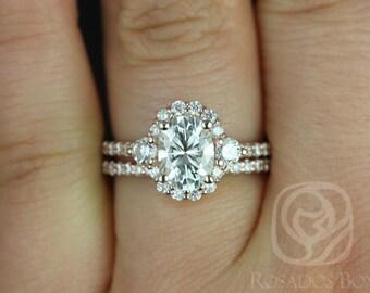Rosados Box Bridgette 8x6mm 14kt Rose Gold Oval F1- Moissanite and Diamonds Halo Wedding Set