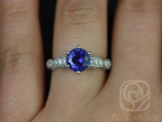 Rosados Box Beatrice 7mm 14kt White Gold Round Blue Sapphire Diamonds Vintage Cathedral Leaves  Engagement Ring