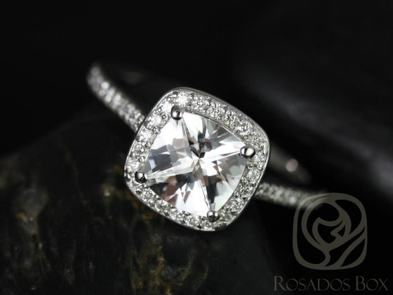 Rosados Box Hollie 7mm 14kt White Gold Cushion White Topaz and Diamonds Halo Engagement Ring